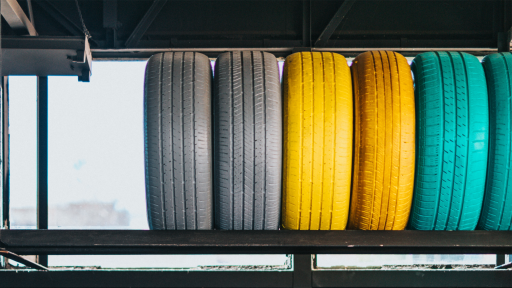 Tyres on a rack